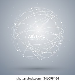 Vector abstract background with point and curve constructed the sphere wireframe. EPS10