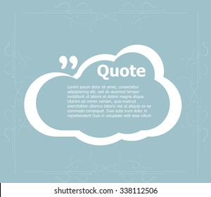 Vector abstract background. Quotation Mark Speech Bubble. Quote sign icon.