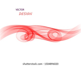 Vector abstract background. Red swirling wave on white background