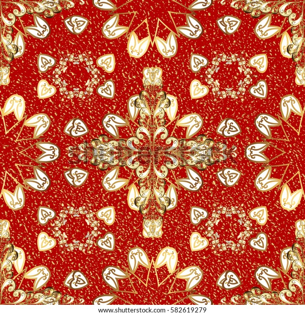 Vector abstract background with repeating elements. Red on background. Oriental classic golden pattern.