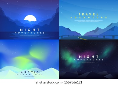 Vector abstract background set. Minimalist style. Flat concept. 4 landscapes collection. Clouds by the water, road between mountains, aurora in the Arctic, night boreal. Website template. UI design.