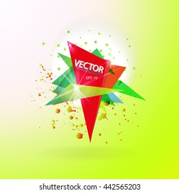 Vector abstract background template with triangle banner. Artistic gradient geometric backdrop for graphic design, poster, flayer, label, leaflet, placard. Vector fractal illustration.