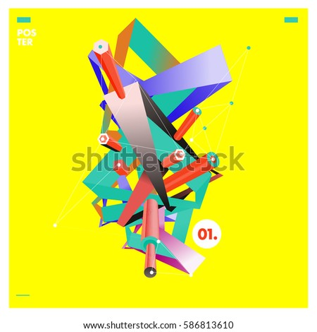 vector abstract background template triangle banner stock vector