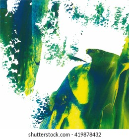 Vector abstract background texture brush stroke hand painted with acrylic paint, blue, green, yellow on white color.
