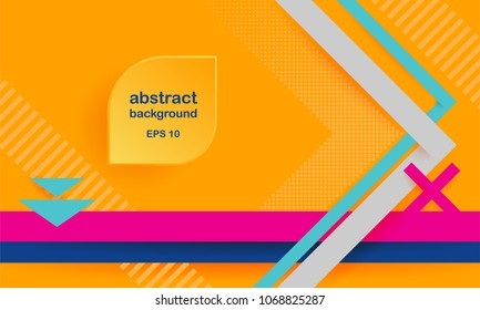 Vector abstract background texture design, bright poster, banner yellow background, pink and blue stripes and shapes. Place for text, frame. Horizontal background.