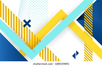 Vector abstract background texture design, bright poster, banner white background, yellow and blue stripes and shapes.