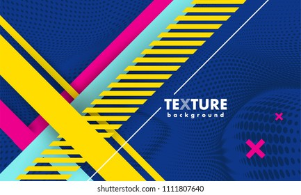 Vector abstract background texture design, bright poster, banner dark blue background, pink, blue and yellow stripes and shapes. Slide for presentation, poster, material design, hipster style.