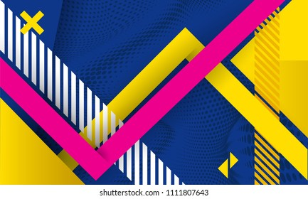 Vector abstract background texture design, bright poster, banner dark blue background, pink and blue stripes and shapes. Slide for presentation, poster, material design, hipster style.