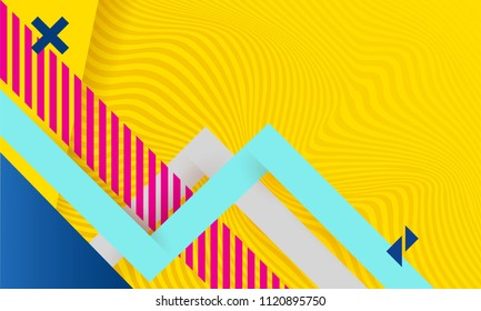 Vector abstract background texture design, bright poster, banner yellow lines of illusion background pink and blue stripes and shapes.