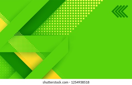 Vector abstract background texture design, bright poster, banner, green background with stripes and shapes. Green background with illusion. Geometric Techno Ecology Concept.