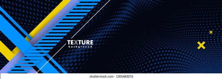 Vector abstract background texture design, bright poster, banner dark blue background, blue and yellow stripes and shapes. Slide for presentation, poster, material design, hipster style.