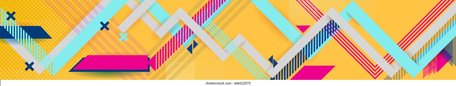 Vector abstract background texture design, banner yellow background, pink and blue stripes and shapes, big size, site header, booklet turn, background for business banner, long textural design.