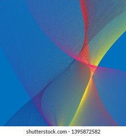 Vector abstract background with wavy lines. On blue background