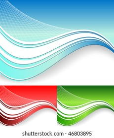 vector abstract background with wavy lines in three colors
