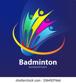 Vector abstract, Badminton sport event symbol