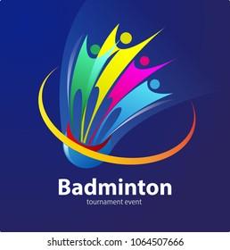 Vector abstract, Badminton sport event symbol