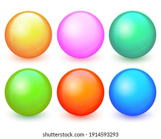 Vector abstract balls set. Collection of colored 3d balls with glares and shadow isolated on white background. Modern glossy spheres set for badges, buttons, icons and other your design. EPS10