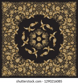 Vector abstract bandana peacock gold print on black background. Floral pattern from golden hand drawn rose flowers, fantasy leaves and fairy tale ornate cute birds. Scarf, shawl, textile patch, carpet