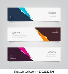 Vector abstract banner design template. Collection of web banner template. Abstract geometric web design banner template. can used for header, footer, layout, letterhed, landing page.