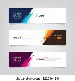 Vector abstract banner design web template. Abstract geometric design banner web template on grey background. Header footer Web Design Elements. Collection of web banner template