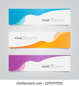 Vector abstract banner design web template. Abstract wavy geometric banner. Trendy gradient shapes composition. can used for header, footer, layout, letterhed, landing page.