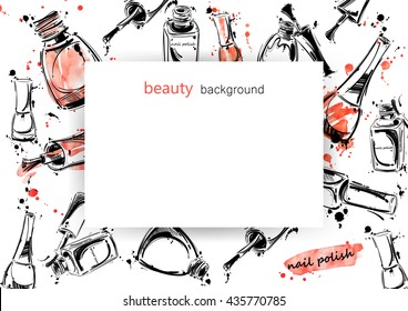 Vector abstract banner with nail polish. Beauty and fashion. Watercolor.