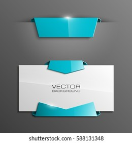 Vector abstract banner. The original form as two form, overlapping. The flat image. Advertising Design shape. Vector label tag.