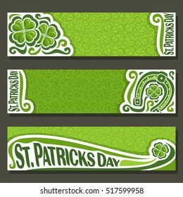 Vector abstract banner for St Patrick's Day on Shamrock background, greeting Clover header for congratulation title text, cover saint patrick day on shamrock leaf pattern ornament, clover foliage lawn