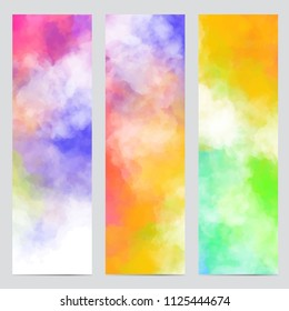 Vector abstract banners with colorful clouds, smoke, multi color dust, paint. Multicolored concept illustrations with realistic clouds of Holi paint powder. Bright vertical banners set.