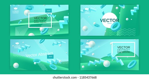 Vector abstract banners set in blue and green colors