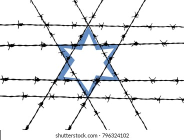 Vector abstract barbed wire and star of David, Shoah concept