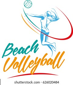 Vector abstract, beach volleyball competition logo even