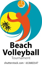 Vector abstract, beach volleyball tournament logo event