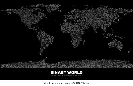 Vector abstract binary world map. Continents constructed from binary numbers. Global information network. Worldwide network. International data. Digital world in modern cyber reality.