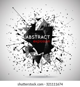 Vector abstract black explosion background. Space and energy, shape and effect, particle and power illustration