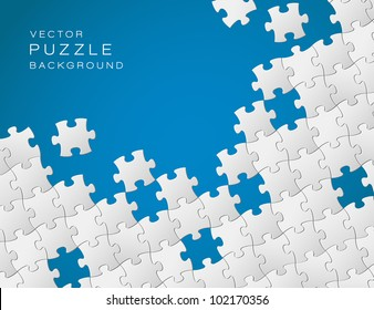 Vector Abstract blue background made from white puzzle pieces and place for your content
