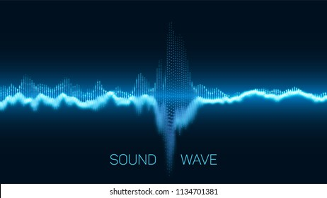 Vector abstract blue digital equalizer with shallow depth of field effect. Vector of sound wave. Glowing points. Signal visualization. HUD elements. Waveform