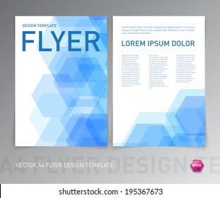 Vector abstract blue flyer design with geometric hexagonal background
