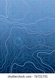 vector abstract blue map with wavy lines