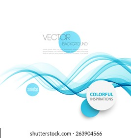 Vector Abstract blue smoke  curved lines background. Brochure or website design. Water wave