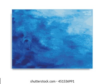 Vector abstract blue watercolor brushed stroke for background isolated on white.