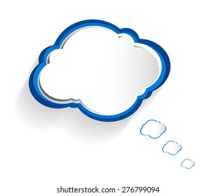 Vector abstract of blue and white paper cloud on white background.