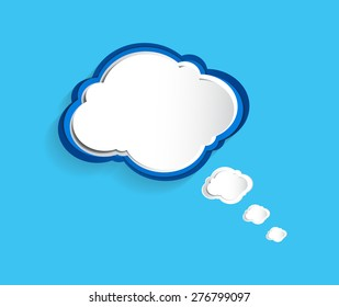 Vector abstract of blue and white paper cloud on blue background.
