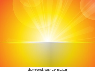Vector : Abstract bokeh and stripe with sunshine on yellow and orange background