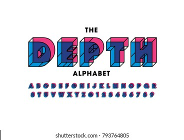 Vector of abstract bold font and alphabet