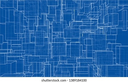 Vector abstract boxes background. Vector rendering of 3d. Wire-frame style