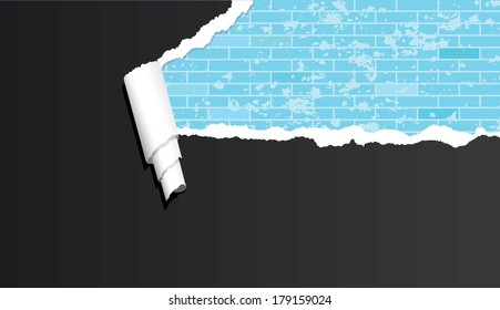 Vector abstract brick wall under ripped paper.