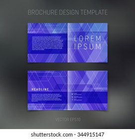 Vector abstract brochure design template. Two-page spreads. Geometric pattern