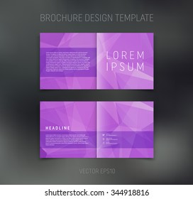 Vector abstract brochure design template. Two-page spreads. Geometric polygonal background
