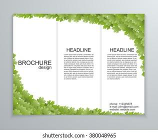 Vector abstract brochure design template. Spring green foliage.